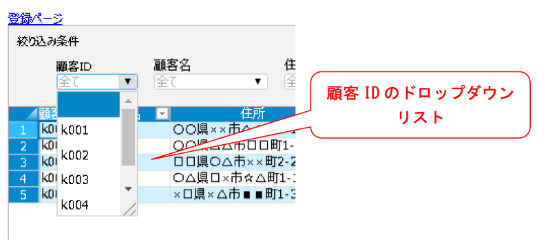 顧客IDのドロップダウンリスト